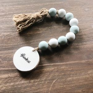 Other - NEW Farmhouse Beaded Garland White & Teal